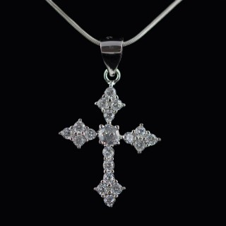 Silver cross with zircons